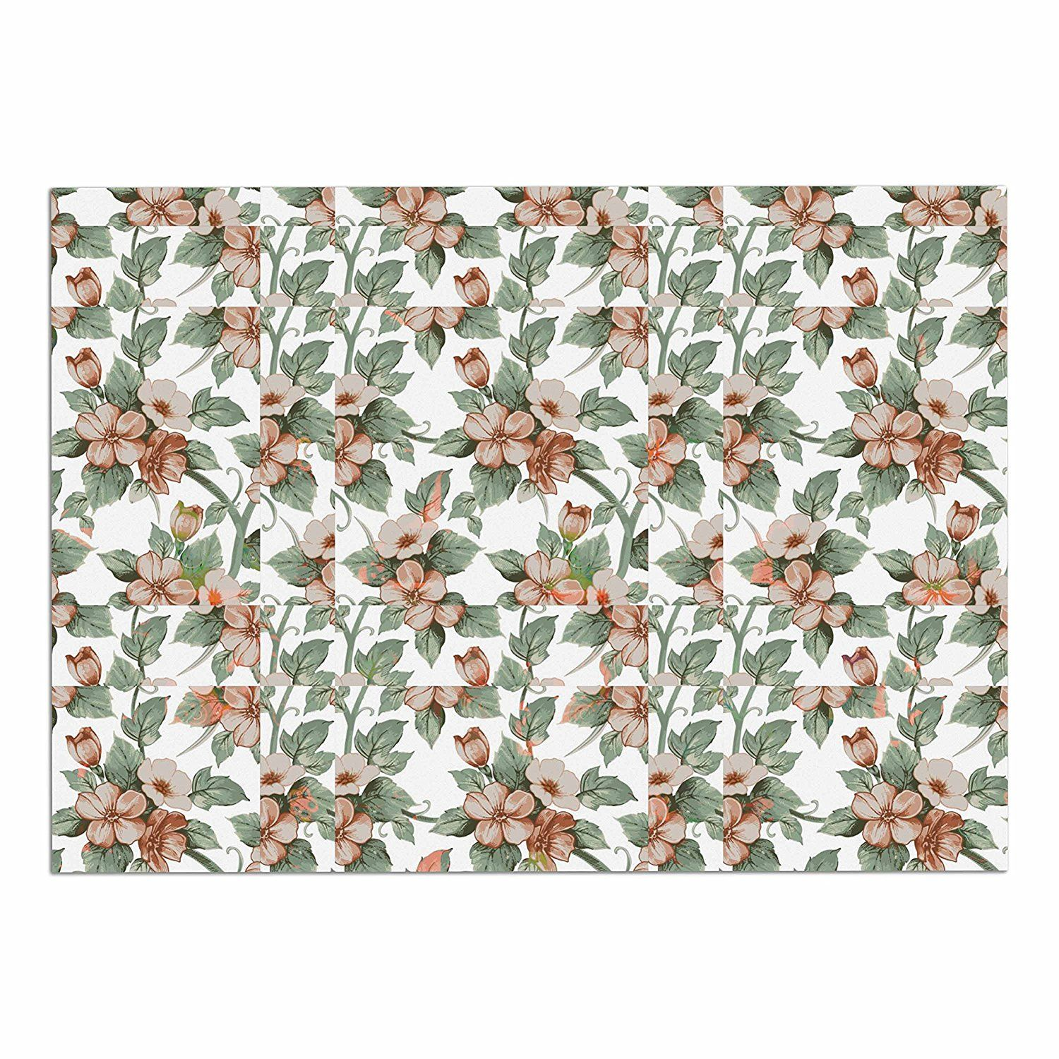 KESS InHouse Suzanne Carter 'Vintage Flowers' Green Floral Dog Place Mat, 13' x 18' *** Remarkable product available now. : Dog food container