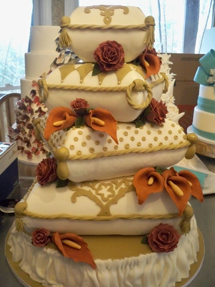 cushion wedding cake four tiered stack of cushions pillows wedding cake 13193