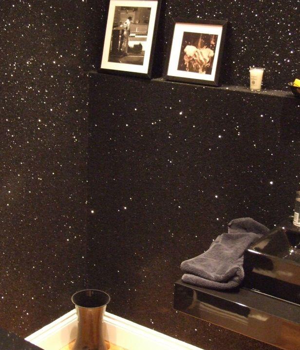 Black Glitter Bathroom: Mix A Gallon Of Elmer's Glue W/ Glitter & Paint Walls