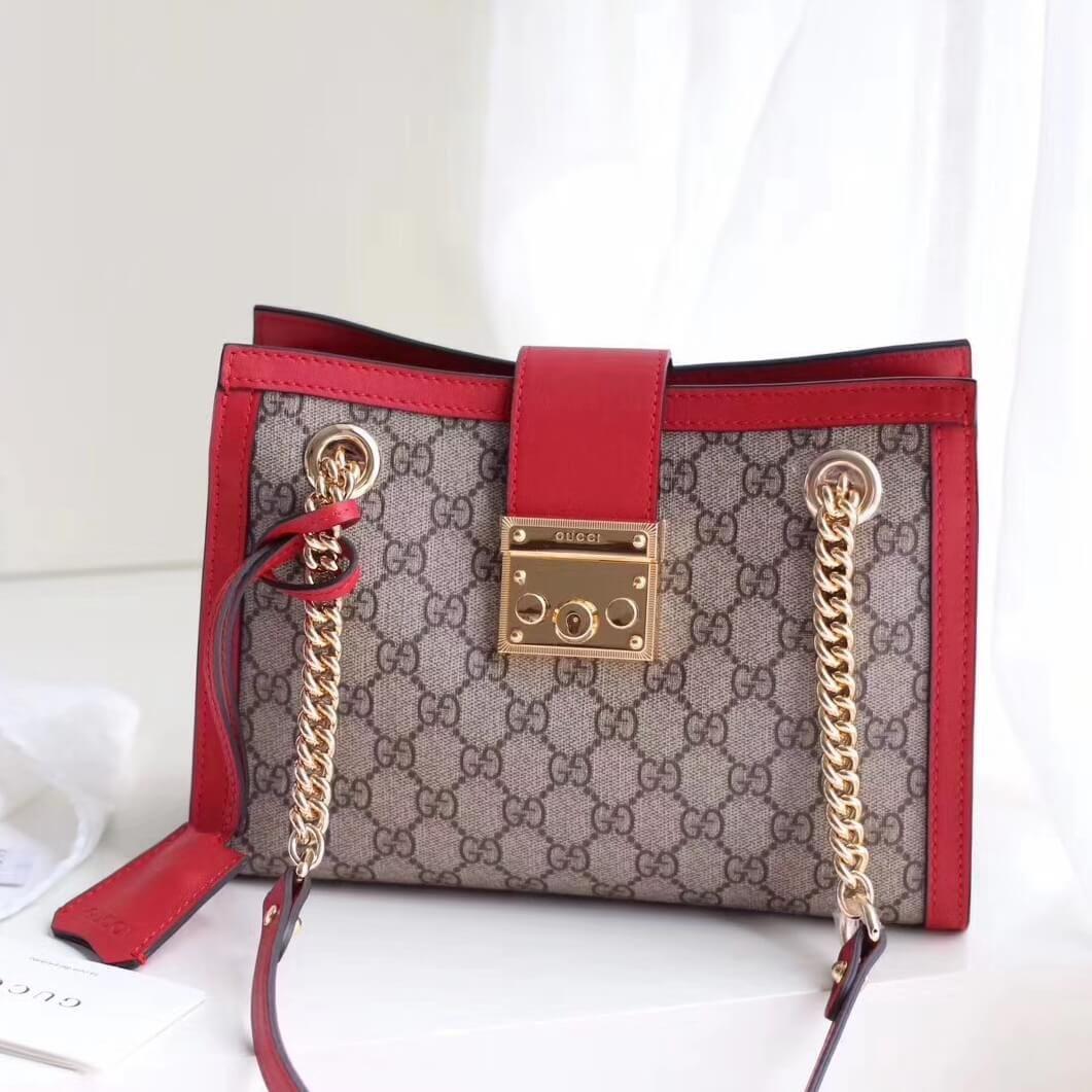 cc00689dc01 Gucci Padlock GG Supreme Canvas Shoulder Small Bag 498156 Red 2017 ...