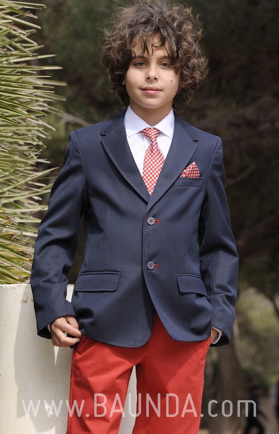 Traje de comunión rojo 2018 sport 1870 con chaqueta azul marina y ...