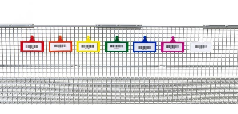 qwikSIGHT Colored Label Holders snap-on to the basket grid.