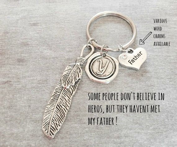 SILVER KEYRING Silver feather keychain Father keychain by SAjolie