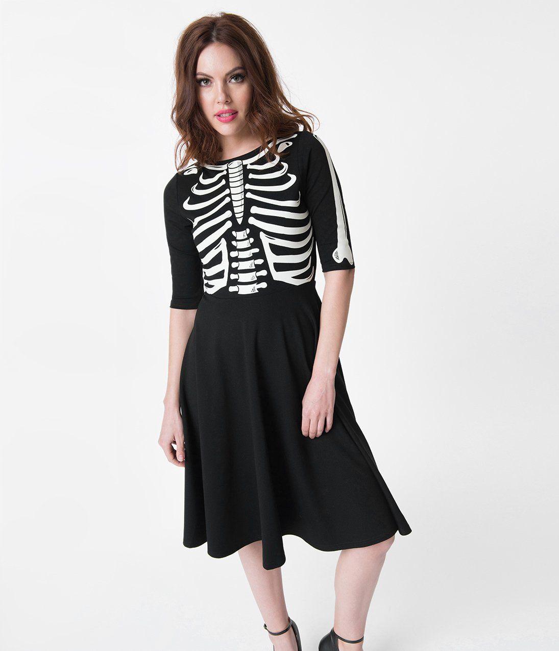 df6ea3e93e59 Unique Vintage Black Skeleton Bones Graves Swing Dress | Fashion ...