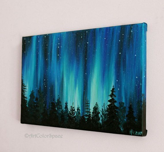 Small galaxy painting night sky northern lights painting landscape painting aurora borealis oil painting on canvas - acrylic painting 2019#acrylic #aurora #borealis #canvas #galaxy #landscape #lights #night #northern #oil #painting #sky #small