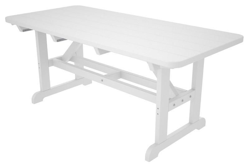 Polywood PTWH Park X Harvester Picnic Table In White - Polywood park picnic table
