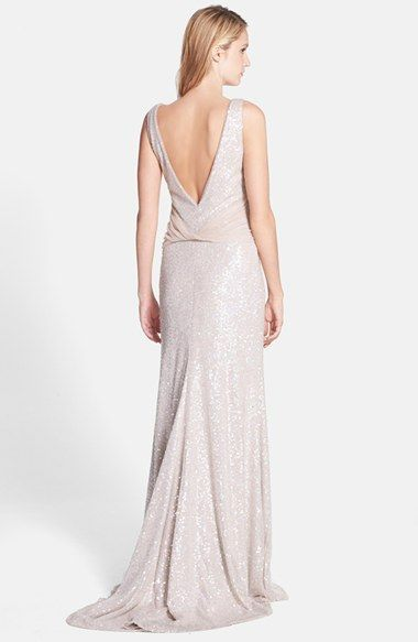 Vera Wang Sequin Mesh Gown | Backless dress formal, Gowns ...