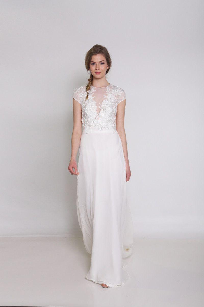 Silk sheath wedding dress  White    to  Beading Cap Sleeve Chiffon Floor Illusion