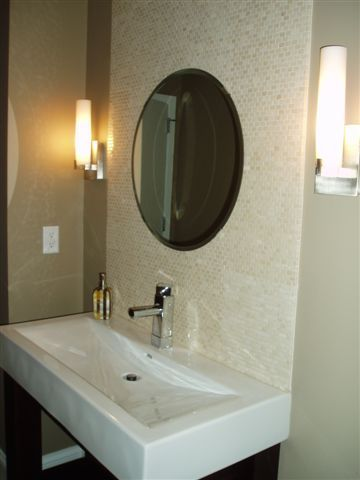 Amazing Powder Room Bath With Tile Accent Wall Custom Vanity Home Interior And Landscaping Palasignezvosmurscom