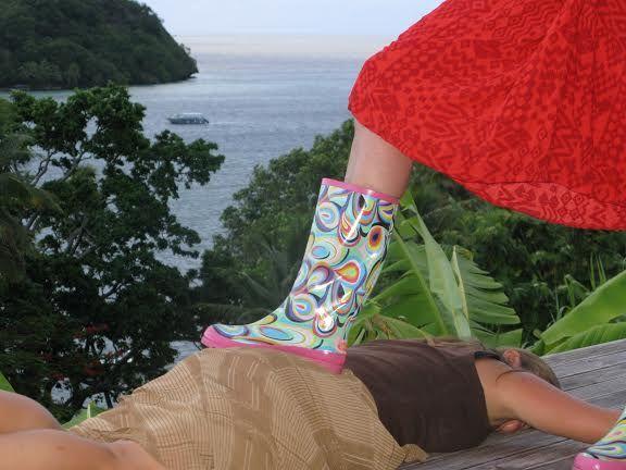 Boots commanding attention of tourist at Matava Fiji