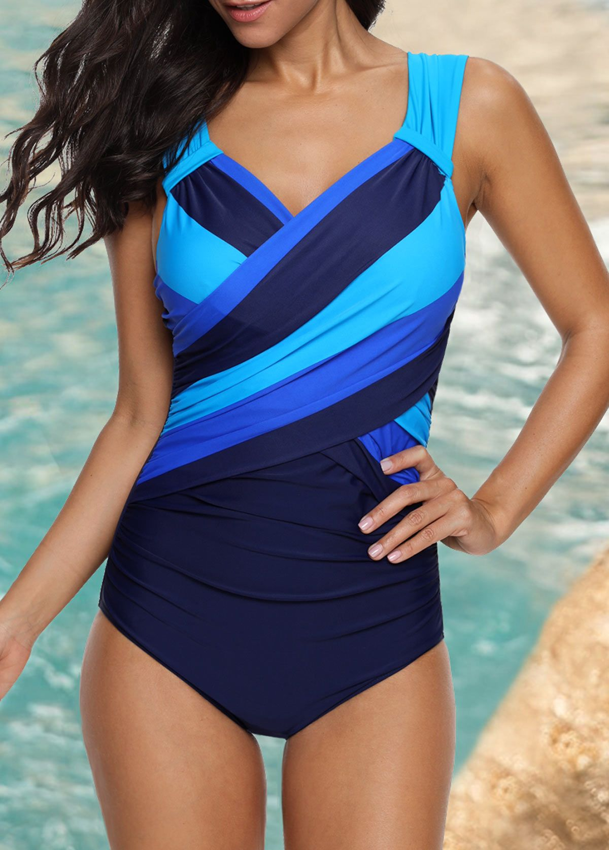 0c3f0236bd Wide Strap Ruched Striped One Piece Swimwear | modlily.com - USD $27.53