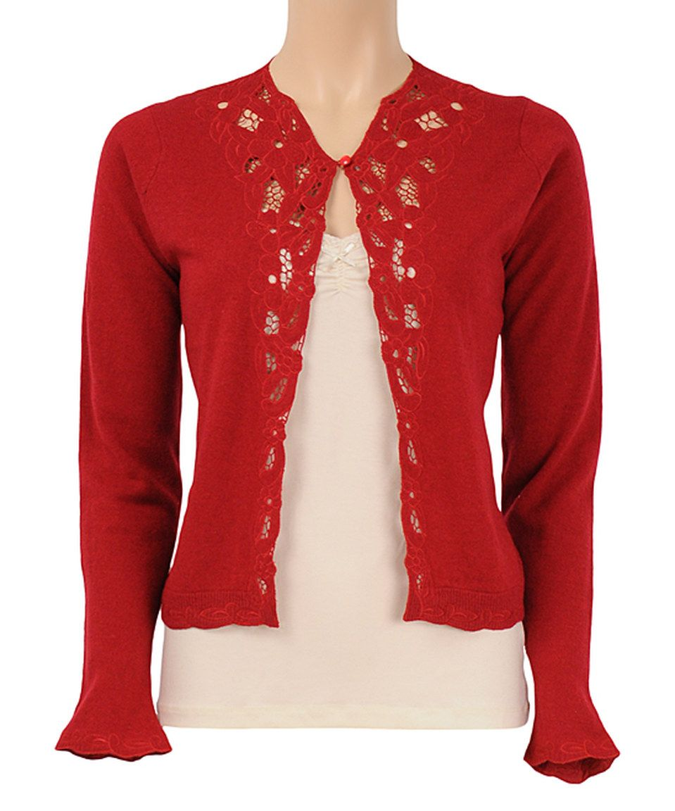 Another great find on #zulily! Cranberry Brocade Wool-Blend Cardigan by Louie et Lucie #zulilyfinds