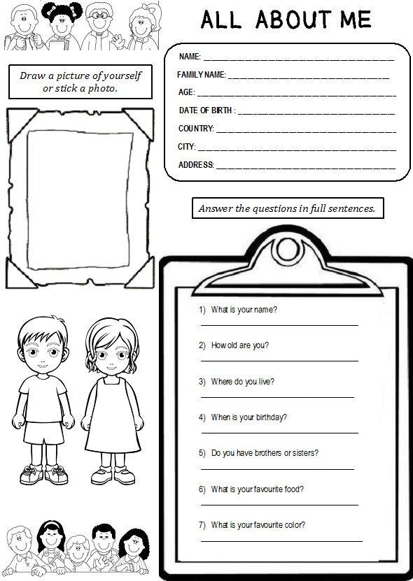 Enjoy Teaching English: ALL ABOUT ME (worksheet) | Pre-K | Pinterest ...