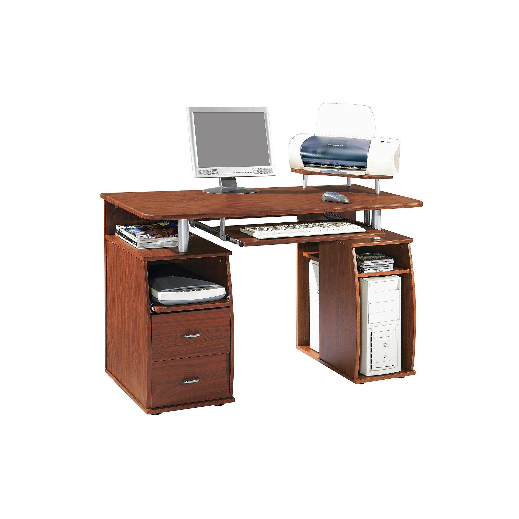 Techni Mobili Mahogany Computer Desk, Brown
