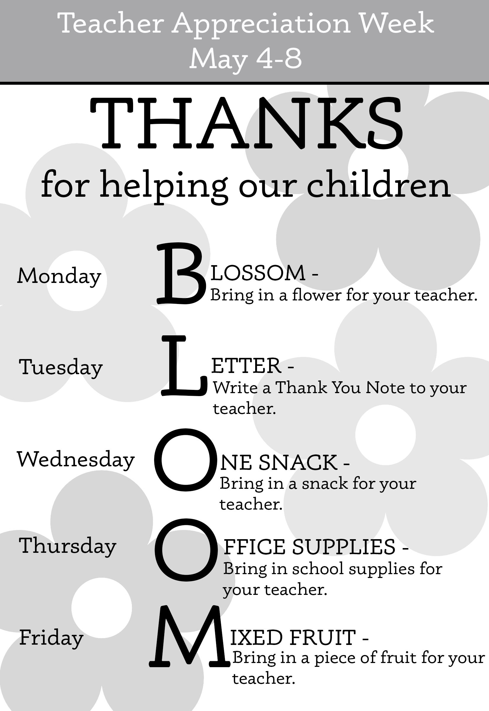 Teacher Appreciation Week Schedule  Yahoo Image Search Results