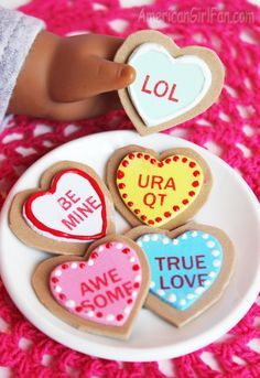 How to make conversation heart cookies for American Girl dolls! (Click through for tutorial) #americangirldollcrafts