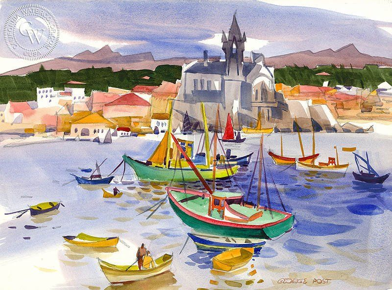 Cascais Portugal 1974 Arches Watercolor Paper Art Learn