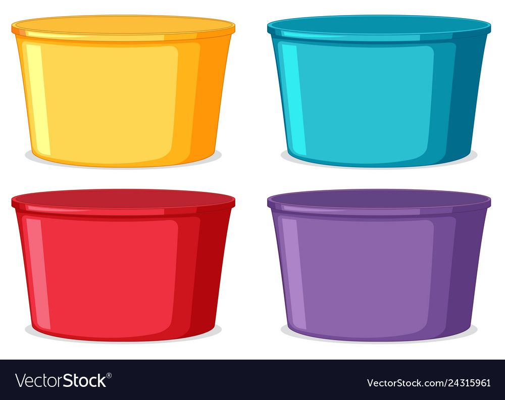 Set Of Colorful Buckets Vector Image On Vectorstock Color Color Sorting Free Clip Art