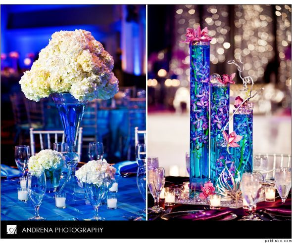 Water Wedding Centerpiece Ideas: Tall Votives With Colored Water And Flowers.
