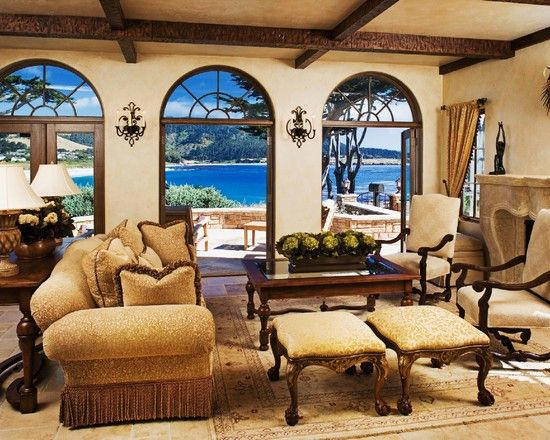 Living Room Traditional Mediterranean Style Design