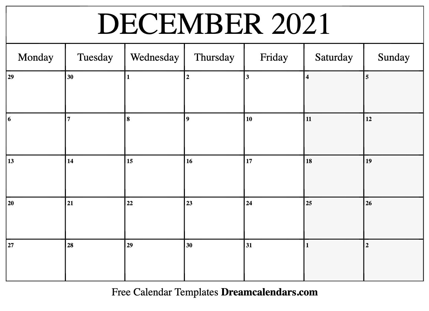 December 2021 And January 2020 Calendar Pdf In 2020 Monthly Calendar Printable Calendar Printables Calendar Template