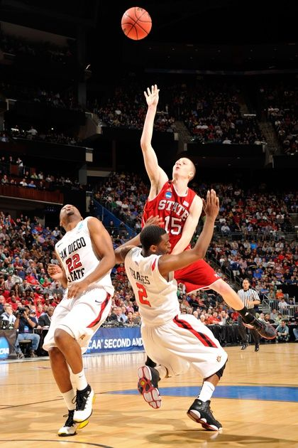North Carolina State Forward Scott Wood Throws Up A Wild Shot In A Win Over San Diego State Nc State Basketball San Diego Basketball San Diego State University