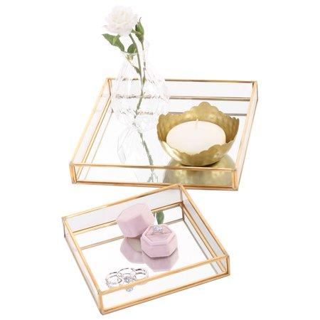 Home Glass tray decor, Vanity set, Glass mirror