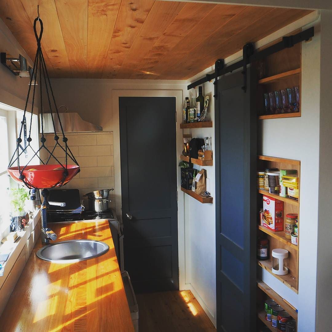 Starting to get that homely feeling!  Kitchen works well. #tinyhouse #tinyliving #tiny #interior #tinykitchen by pihatinyhouse