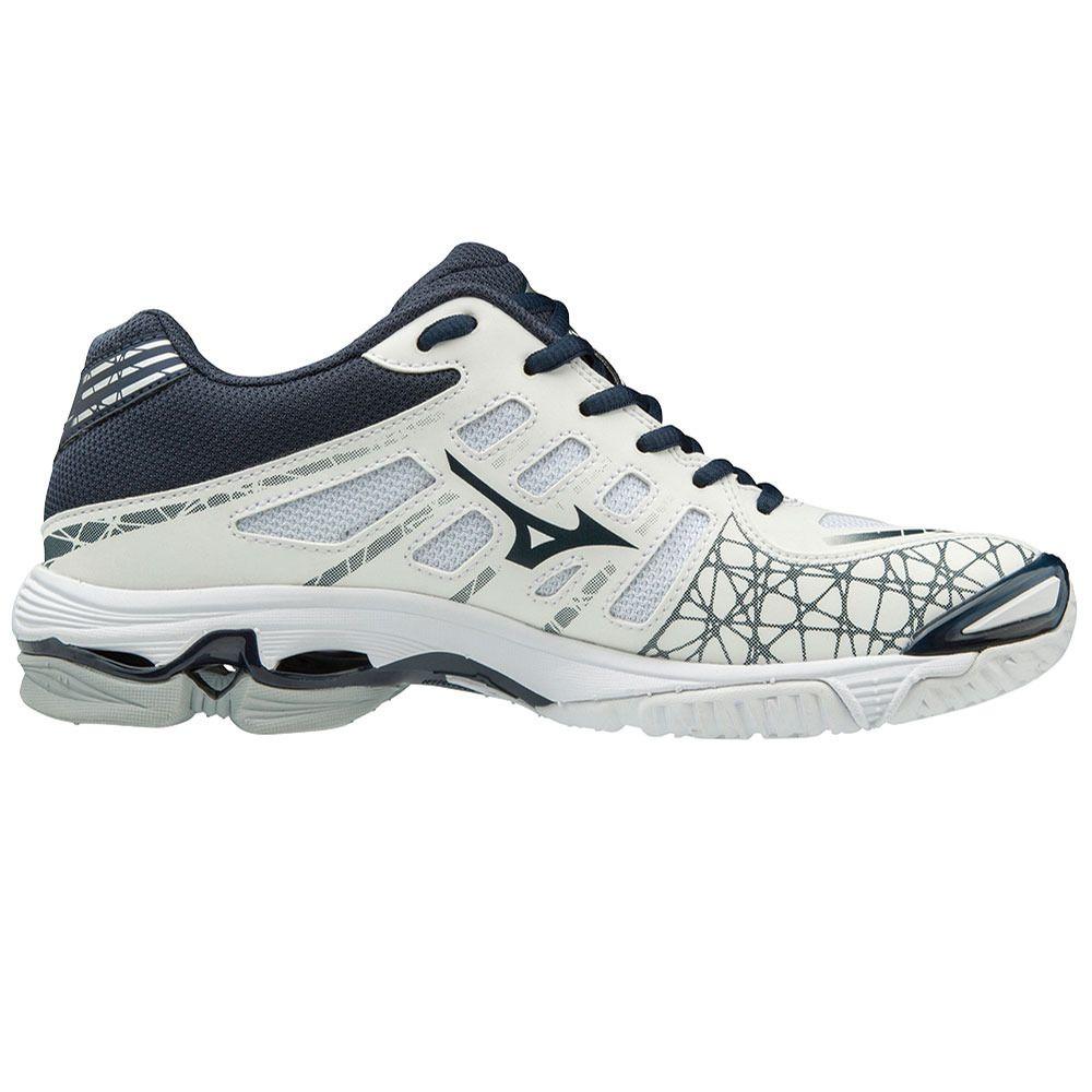 Mizuno Women S Wave Voltage White Navy Volleyball Shoes Mizuno Mizuno Volleyball
