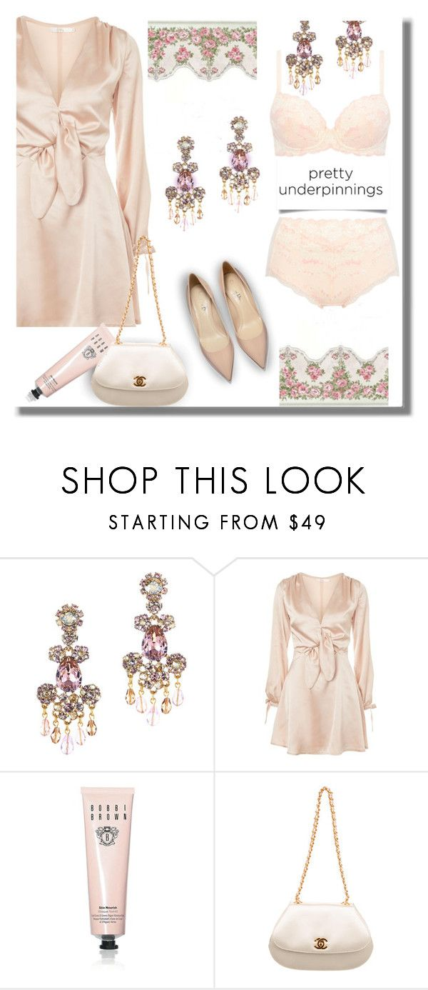 """""""prettyunderpinnings"""" by axenta ❤ liked on Polyvore featuring Oscar de la Renta, Oh My Love, Bobbi Brown Cosmetics, Chanel, axenta and prettyunderpinnings"""