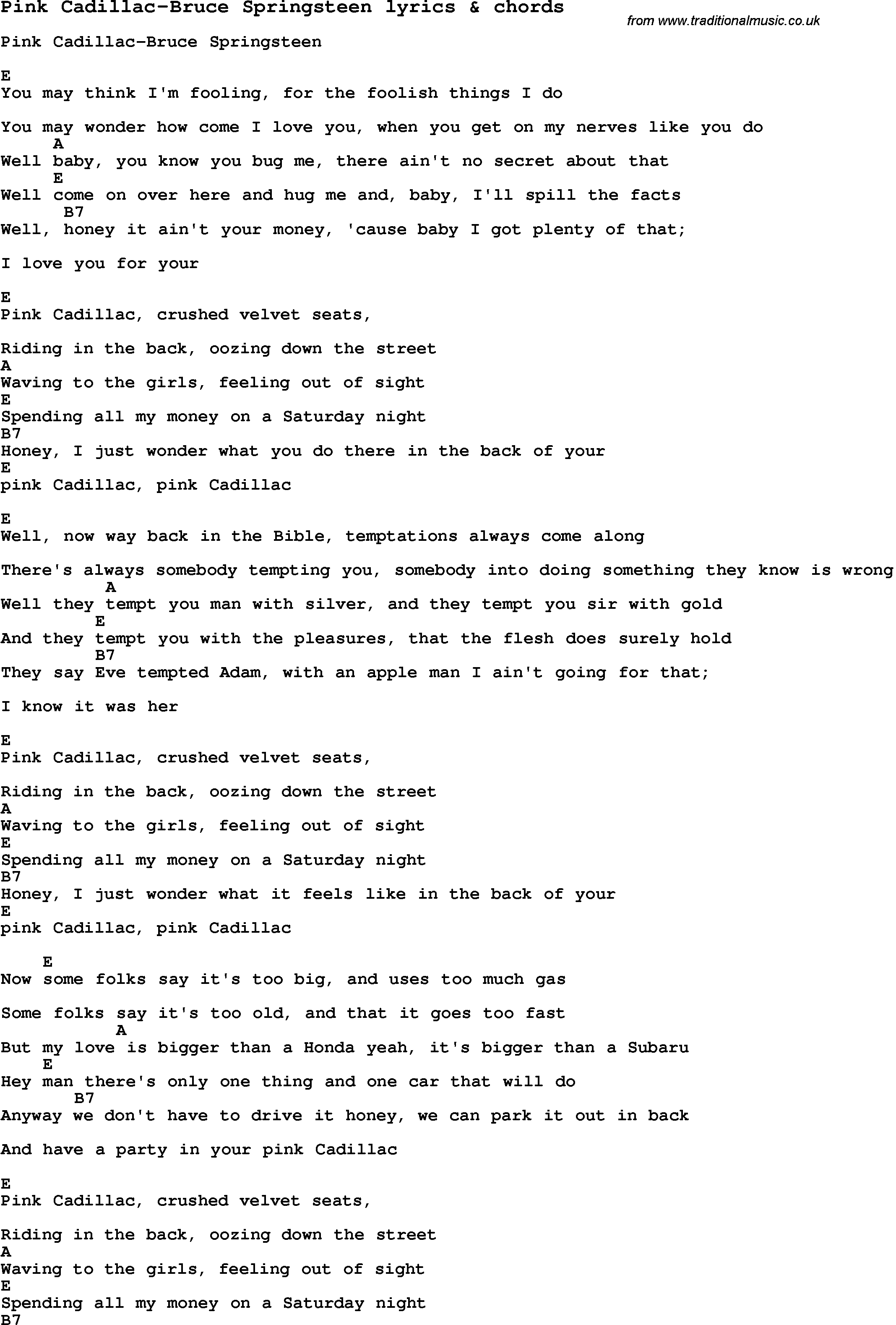 Love song lyrics for pink cadillac bruce springsteen with chords love song lyrics for pink cadillac bruce springsteen with chords for ukulele guitar hexwebz Images