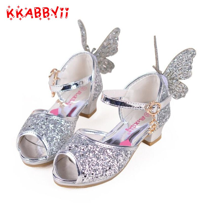Fashion Princess Children Girls High Heels Kids Girls Party Dance Shoes Leather