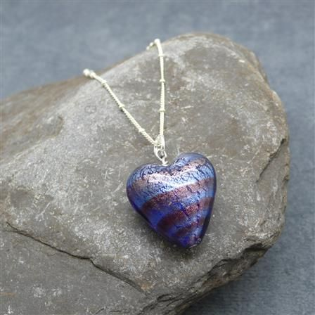 ACHICA | Martick Murano Heart Pendant Necklace, Purple/Silver