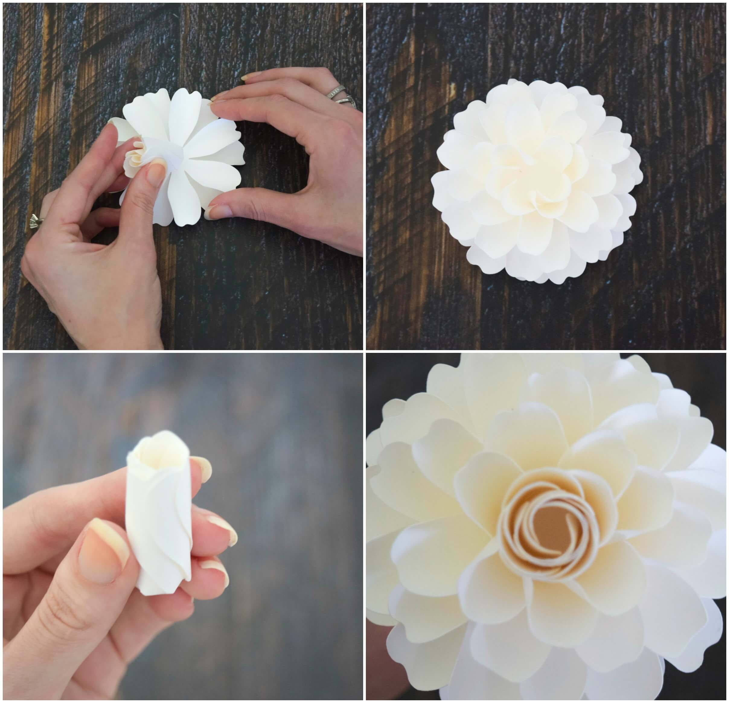 How To Make Paper Dahlia Flowers Small Paper Flower Tutorial Paper Dahlia Paper Flowers Paper Flower Tutorial