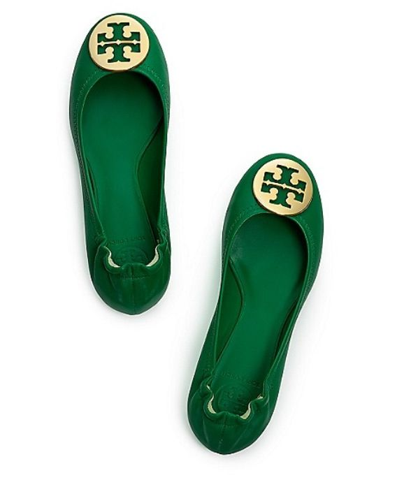 86224fa12 tory burch green reva flats with ghw!