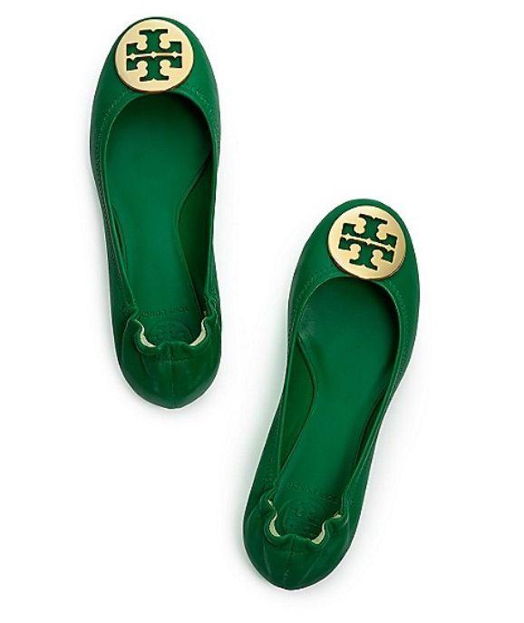 95e432f29aa9 tory burch green reva flats with ghw!