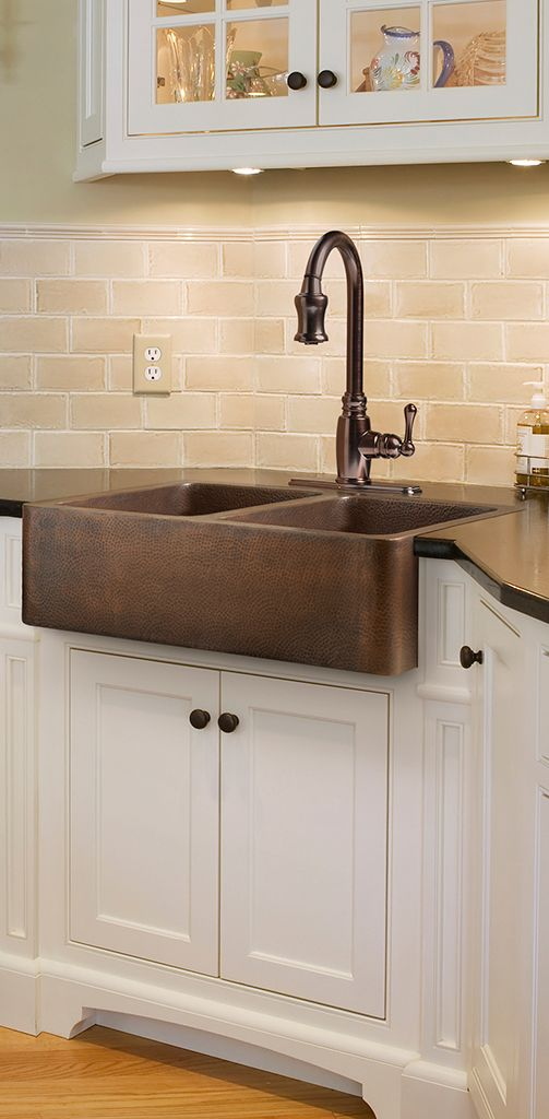 Rockwell Copper Double Basin Apron Kitchen Sink By Kitchen Sink Design Copper Farmhouse Sinks Copper Kitchen Sink Farmhouse