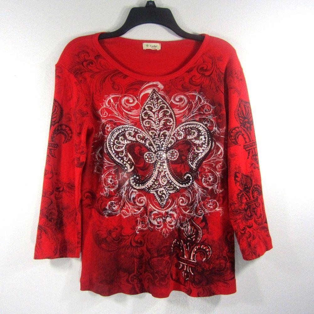 CACTUS Womens Red Long Sleeve Fleur De Lis Embellished