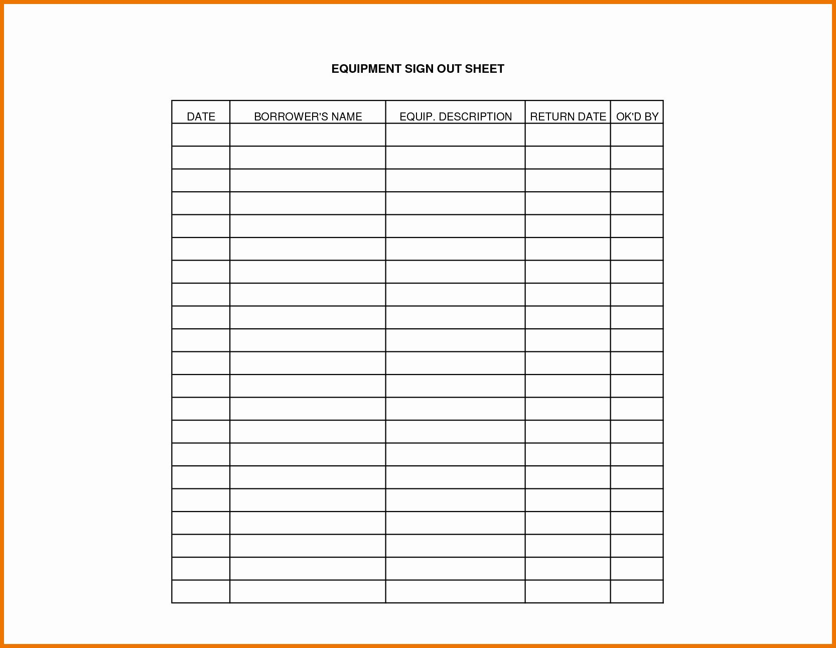 Equipment Sign Out Sheet Template Inspirational Equipment Sign Out Sheet Template Sign Out Sheet Templates Make Business Cards