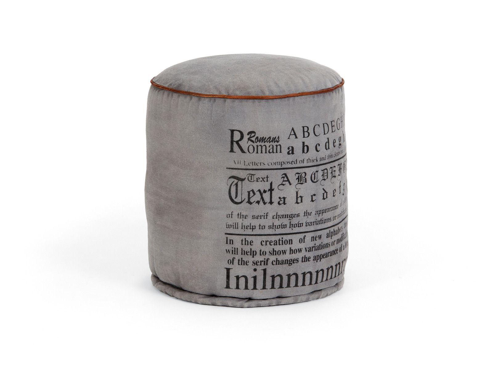 Vintage-Hocker-Moncton-aus-Leinen-grau