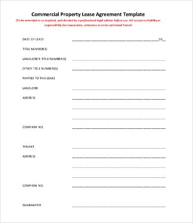 Commercial Property Lease Agreement Template , 11+ Simple - commercial lease agreement template word
