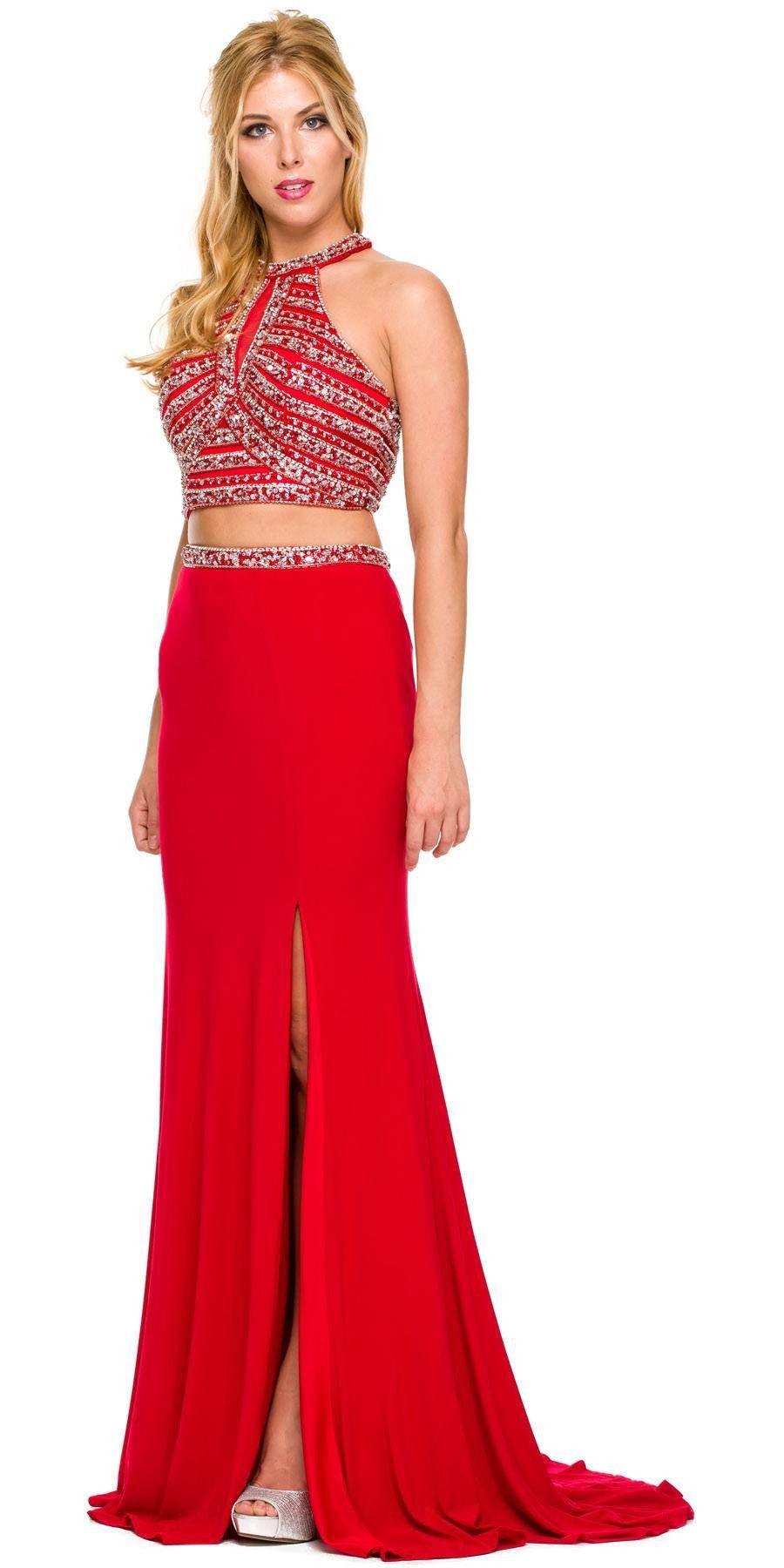 Formal piece red gown ity stretch rhinestones halter hoco