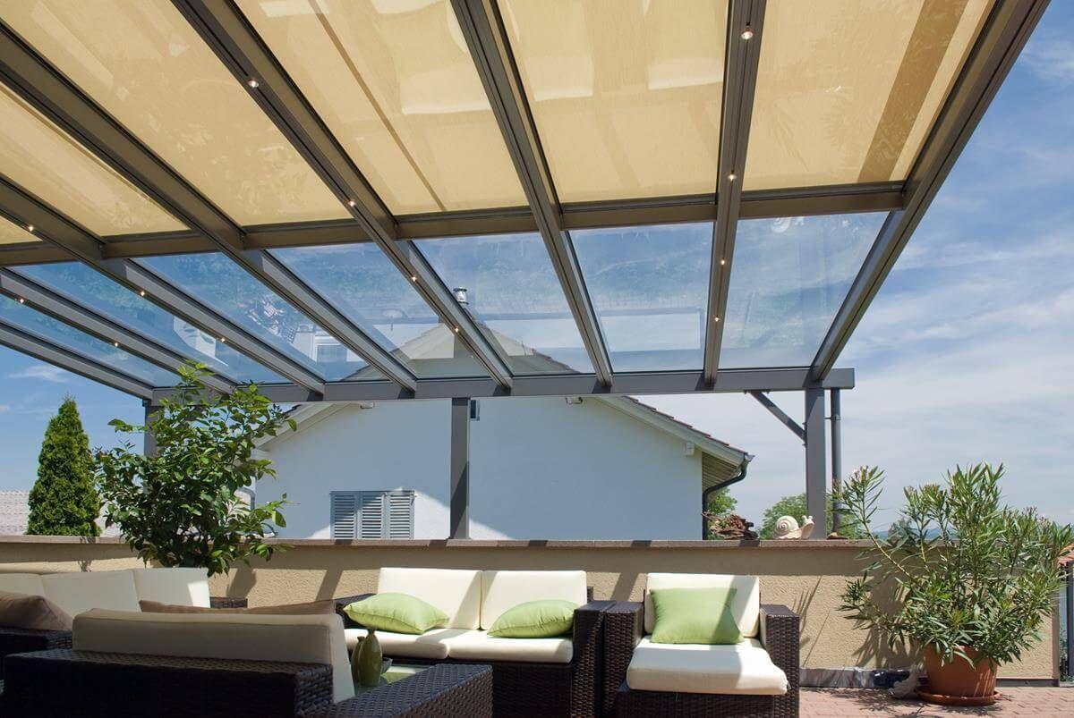 COBERTI Pérgola de aluminio con techo de cristal fijo para porche en ...