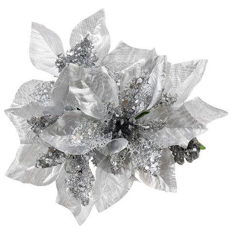 CHRISTMAS VELVET LARGE SILVER GLITTER POINSETTIA FLOWER x 3 STEMS,XMAS TREE DECS