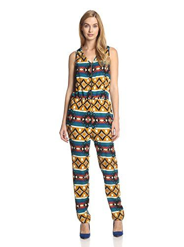 Romeo & Juliet Couture Women's Sleeveless Printed Jumpsuit (Camel Multi)