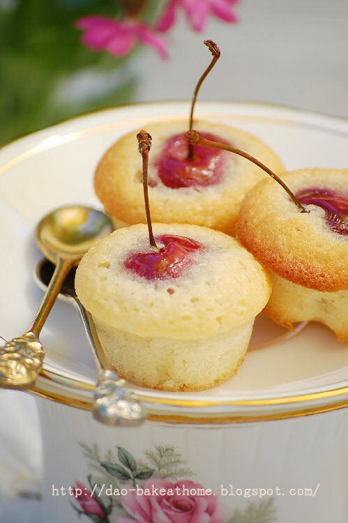 Tiny Cherry and Almond Tea Cakes is part of Tea cakes - Each of these charming tea cakes is baked with a whole cherry inside  stem, pit, and all  Be sure to warn guests about the pits, or remove the stems and pits before baking