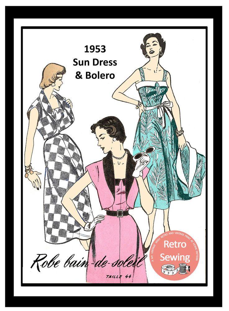 1950s Sun Dress and Bolero French Sewing Pattern - Rockabilly - Pin ...