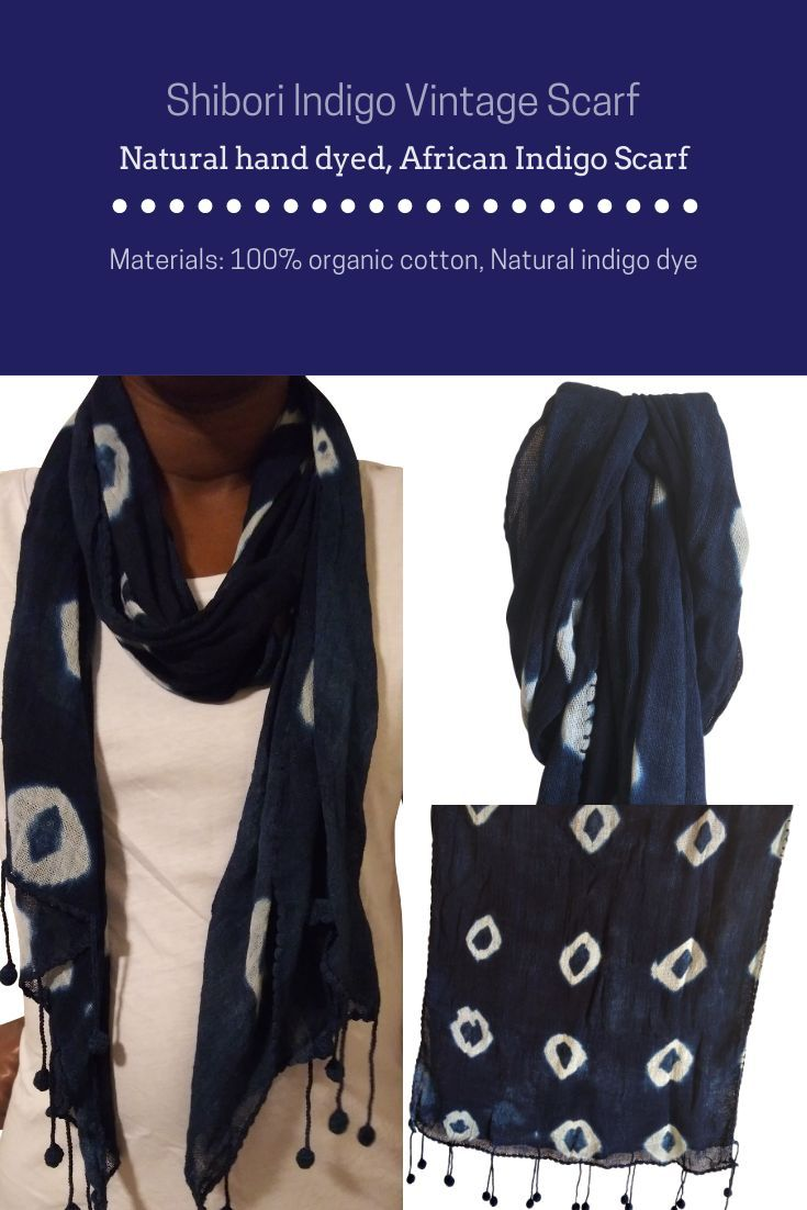 Beautifully finished in an Indigo-dyed cotton. Each scarf is dyed by hand, expect natural variations in color and pattern.