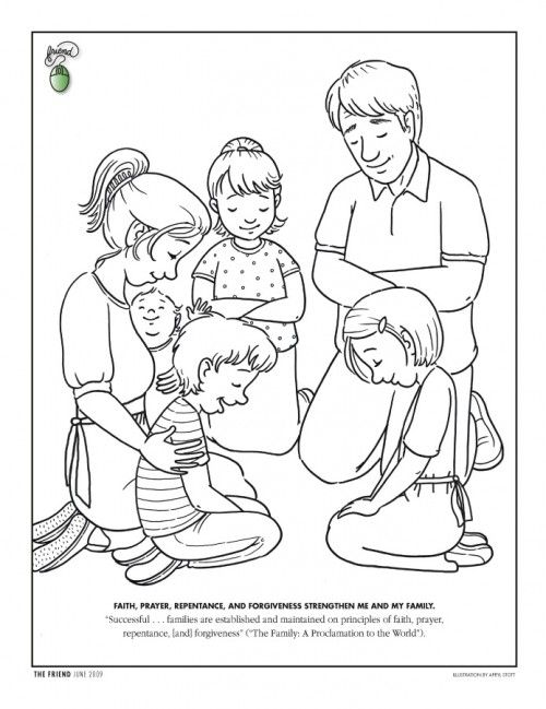 Fr09jun48 Color Lds Coloring Pages Prayer For Family Sunday