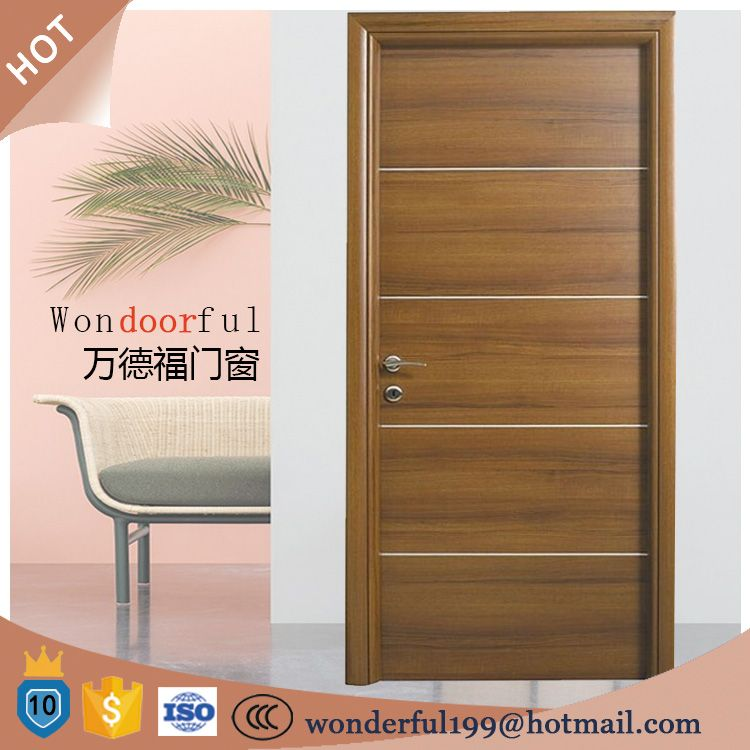 Simple Design Solid Wooden Flush Engineered Veneer Room Door